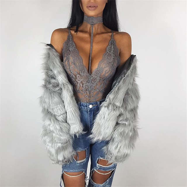 1504cc76d3 Sexy Lace Bodysuits Women Deep V Neck Halter Transparent Party Club  Jumpsuit Rompers Sheath Casual Overalls
