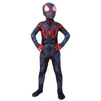 Children Spider man Into The Spider Verse Miles Morales Cosplay Costume Spiderman Suit Kids 3d Zentai Cosplay Jumpsuit Bodysuit