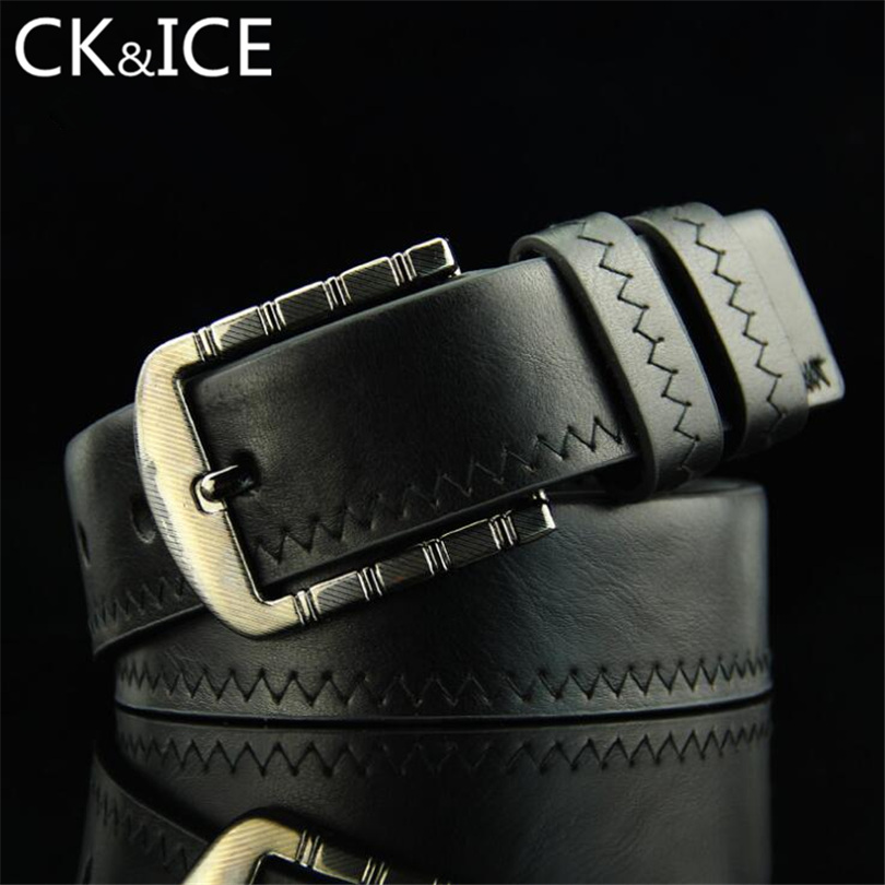 CK&ICE 3 Color Fashion Men Hemming Belts Vintage Design PU Leather Belt For Man Pin Buckle Brand  Casual Waist Strap For Male