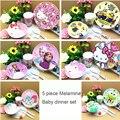 5 piece/set kids cartoon Melamine plates bowl cups baby food feeding Melamine cartoon dinner sets baby tablewares sets