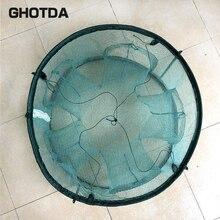 High Quality Folding Fishing Network Round Nylon Mesh Crab Fish Net Fishing Landing Net Green 5/6/7 Holes