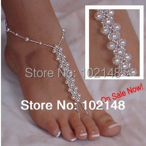 DROP SHIPPING elastic beach wedding barefoot sandals bridal pearl