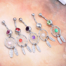 Gem Dream Catcher Belly Button Dangle Navel Bar Nhẫn Body Piercing Trang Sức 6 màu 18 cái đồ trang sức cơ th(China)