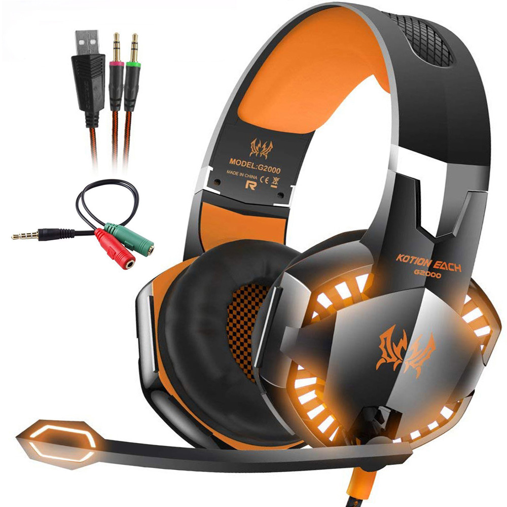 Kotion EACH G2000 Stereo Gaming Headset Deep Bass Computer Game Headphones Earphone with LED Light Microphone for PC Laptop PS4