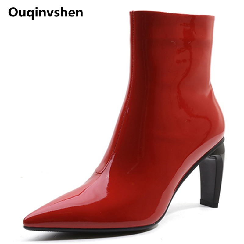 Ouqinvshen Pointed Toe Red Red Shoes Woman Plus Size 34-42 Strange Style Genuine Leather Women Pumps Fashion Zipper Ankle BootsOuqinvshen Pointed Toe Red Red Shoes Woman Plus Size 34-42 Strange Style Genuine Leather Women Pumps Fashion Zipper Ankle Boots