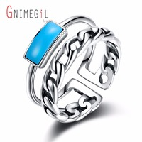 GNIMEGIL Real 925 Sterling Silver Rings With Stone Fashion Bohe Blue Natural Stone Ring For Women