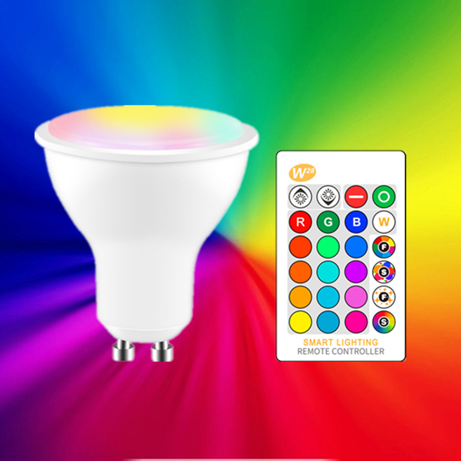GU10 E27 RGB Led Lamp Spotlight 5W 85-265V 110V 220V RGB Warm White Led Bulb Lampada RGBW Led Light +Remote Memory Dimmable