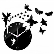 Modern 3D Acrylic Mirror Quartz Stickers Fairy Butterflies Wall Clocks
