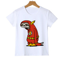 Funny Super Hero Sloth Flash Personality Print Children's T-shirt Boy Girl Summer Comfort T-shirt Animal Print Top Costume Y8-61(China)