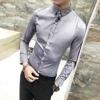 New Fashion Men Party Shirt Long Sleeve Mandarin Collar Slim Fit Shirt Men Korean Business Mens Dress Shirts Men Clothes