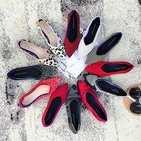 Новый Для женщин Повседневное квартиры bailarinas люксовый бренд с закрытым острым носком балетки женские лодочки обувь шерсть трикотажные для ...