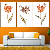 Big Size 3 Pcs Set Flowers Decoration Red Pink Rose Canvas Painting Wall Art Pictures For