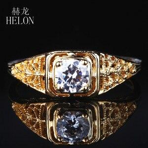 HELON, антикварное винтажное ювелирное изделие в стиле искусства, твердое, 10 к, желтое золото, 4,5 мм, круглое, 0.4ct, Moissanite, бриллиантовое обручальн...