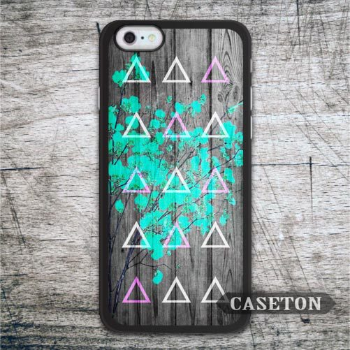 Green Floral Triangles Wood Case For iPhone 7 6 6s Plus 5 5s SE 5c and For iPod 5 High Quality Ultra Phone Cover