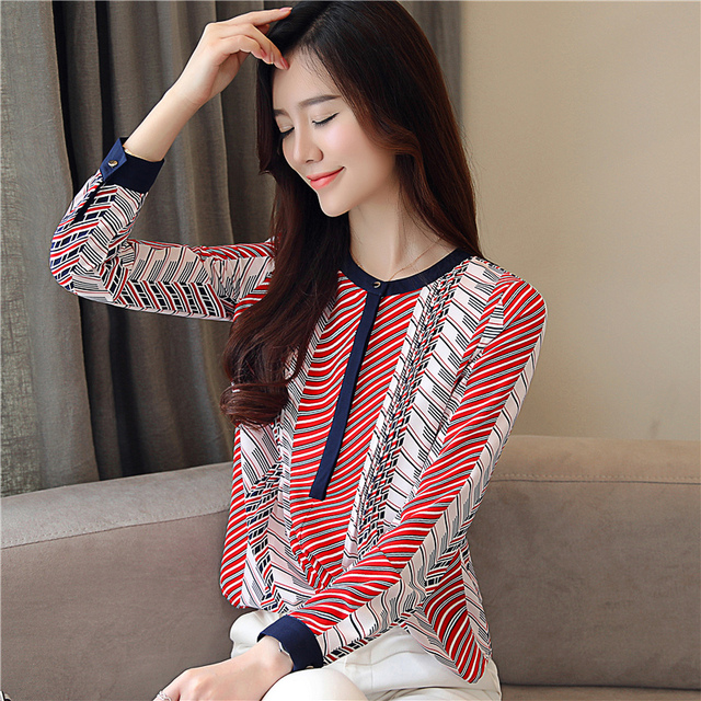 Chiffon Blouse Shirt Striped loose Woman Blouses  4
