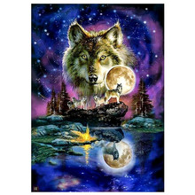 5D DIY diamond painting wolf animal full round embroidery cross stitch rhinestone home decoration