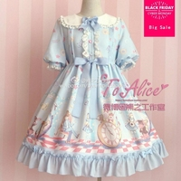 Japanese new soft girls lolita cute dress 2019 soft sister Vintage short sleeve clothes Charlotte Rita high waist dress wj2144