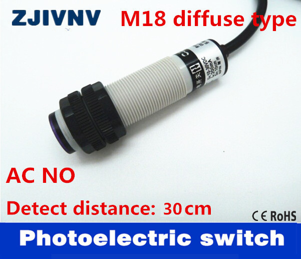 High quality M18 diffuse type AC90~250V 2 wires laser photoelectric ...