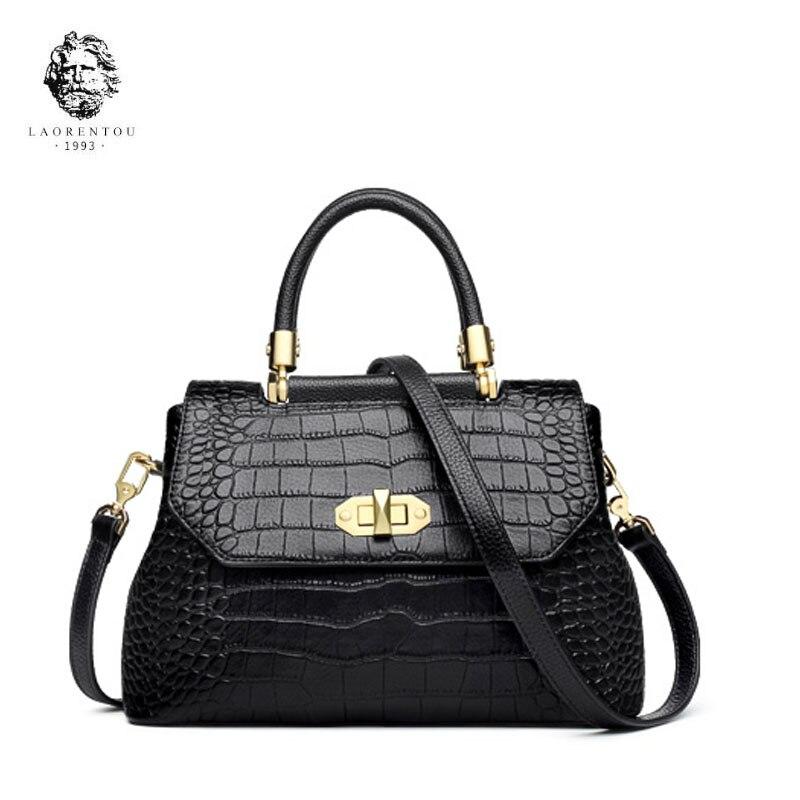 LAORENTOU 2019 Nouvelles femmes en cuir Véritable sacs à main de luxe femmes sacs designer Crocodile grain sacs mode fourre-tout femmes sac