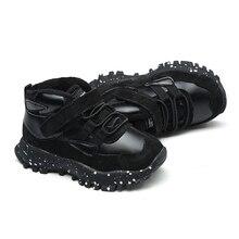 Bottines souples en cuir véritable pour garçons, mode noir gris, vert armée, chaussures chaudes en cuir véritable