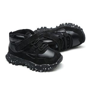 Image 1 - 작은 소년 발목 부츠 패션 블랙 그레이 육군 녹색 유연한 단독 따뜻한 정품 가죽 부츠 chaussure bebe zapatos kids boots