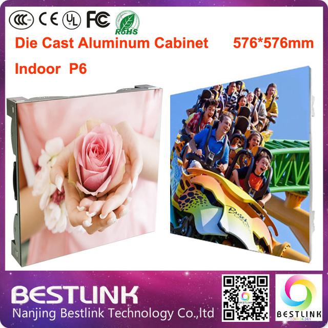 P6 rgb interior levou tela com de alumínio fundido de 576 * 576 mm gabinete para tela para publicidade interior