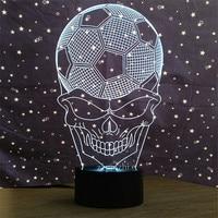 Football Skull Head night lights creative 3d Led Acrylic skull Lampshade usb Bedside Sleep lamp For sport fans Gifts deco lamp
