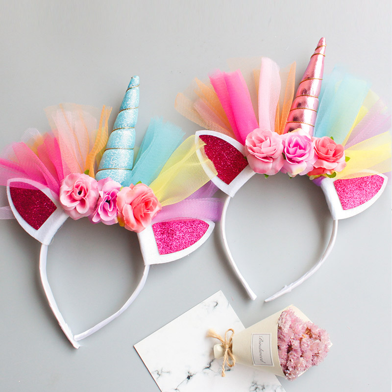 Princess Party Headband Elastic Flower Lace Unicorn Horn