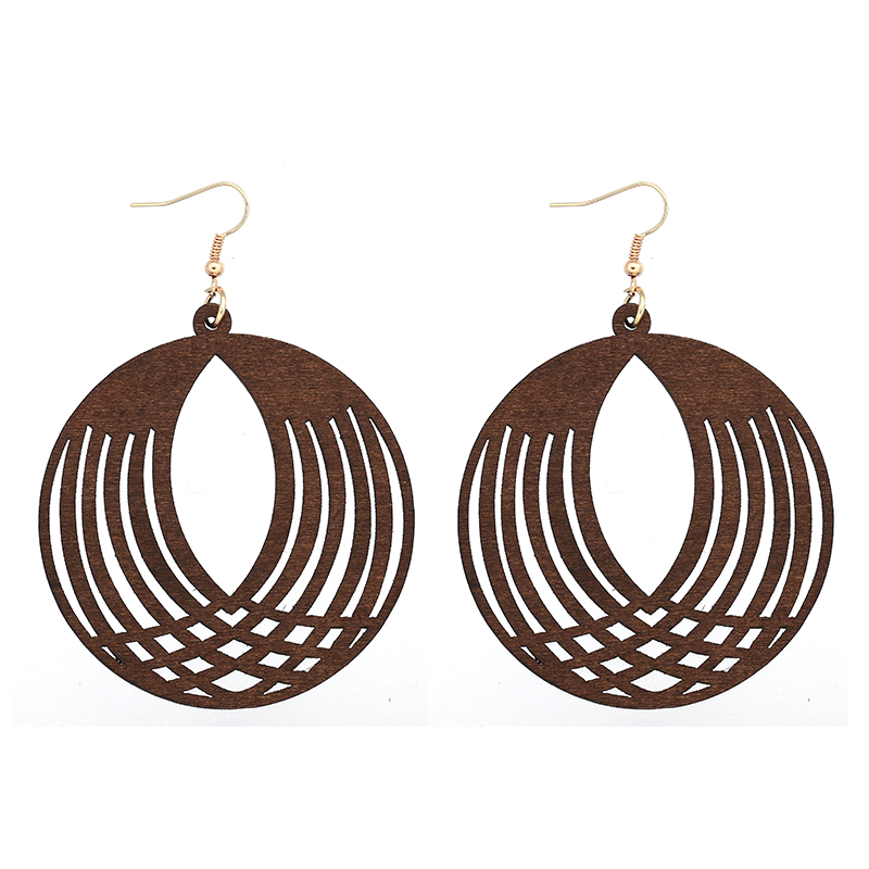 YULUCH African Natural Handmade Wooden Round Openwork Pineapple Pendant for Personalized Fashion Women Jewelry Earrings Gift 6