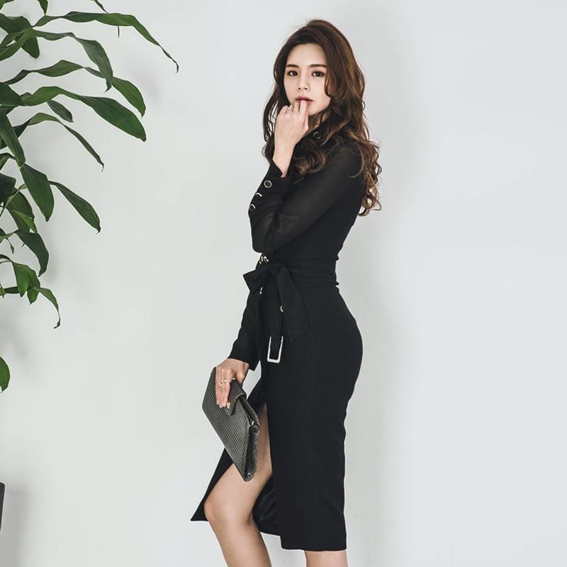 Double Robe Tournent À Travail Le Bas Black Mince Entreprise Boutonnage Vers Moulante Nouvelle Noir Hiver Coréen Ceintures Finewords Élégant Bureau xRPfpqPw