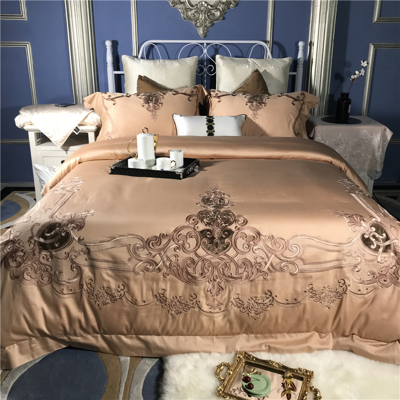 Camel Blue 80S Egyptian Cotton Luxury Gold Royal Embroidery Palace Bedding Set Queen King Size Duvet Cover Bed sheet Pillowcases