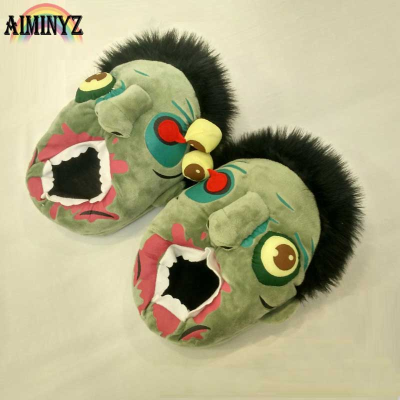 Short Plush Ravenous Zombie Slippers 3D Dames Halloween Schoenen - Damesschoenen