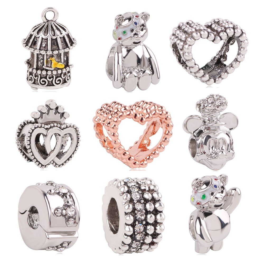 dodocharms 1pc Silver Color Crown Love Mickey Minnie DIY Hanging Jewelry Bead Fow Women Fit Fits Pandora Charm Bracelets