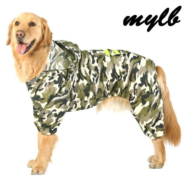 Mylb Large Dog Raincoat Pet Waterproof Detachable Rain Jacket Water Resistant Clothes 4 Colors