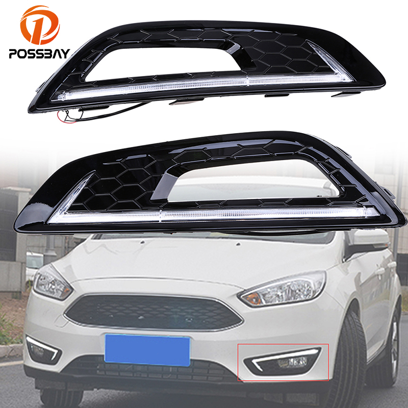 POSSBAY Waterproof Turn Signal Light 12V LED Car DRL Daytime Running Light With Fog Light Cover For Ford Focus 2015-2016 12v car led drl daytime running light fog lamp cover with turn signal light for hyundai elantra 2016 2017