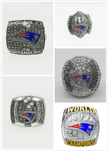 High quality 5Pcs 2001/2003/2004/2014/2016 Replica Super Bowl New England Patriots Championship Ring BRADY 5 Years Sets for Fans