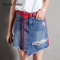 FlyingTown Short Denim Skirt With Sashes Irregular Edging Hole Mini Jeans Skirt 2017 Fashion Women Clothes