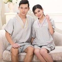 Women Cotton Massager Clothes Men Bathrobe Sets 2PCS Top Pants Foot Bath Clothing Lover Homewaer Nightgown