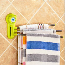 Strong Suction Towel Shelf 3 Swivel 360 Degree Bathroom Rotating Rack Wall Removable Bar
