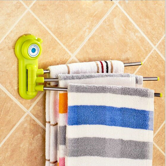 Strong Suction Towel Shelf 3 Swivel 360 Degree Bathroom Rotating Rack Wall Removable Bar