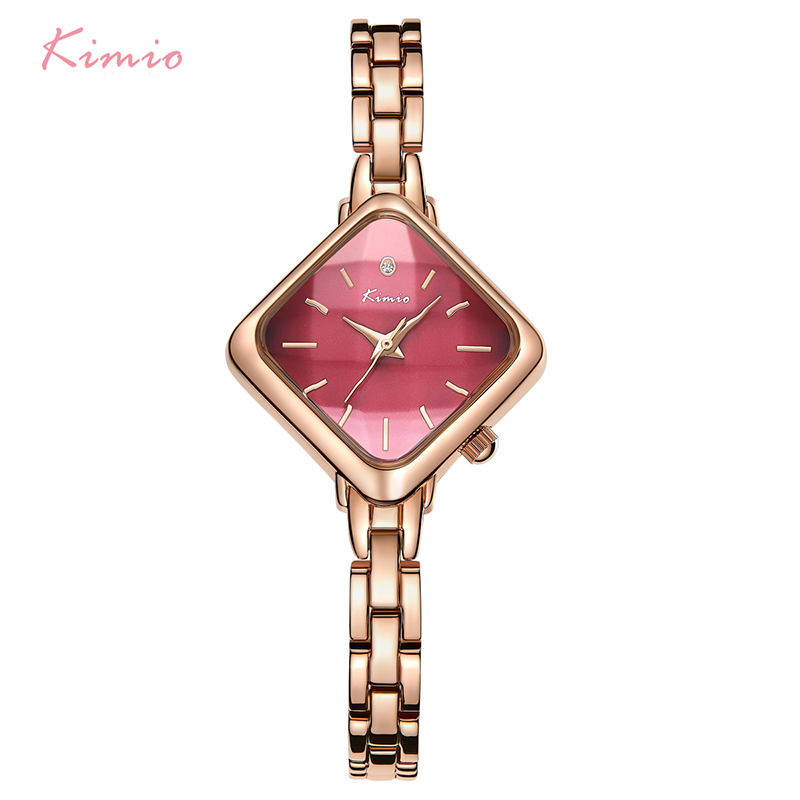 Kimio Brand Woman Bracelet Watch Simple Ladies Rectangle Dress Quartz Watch Stainless Steel Band Wrist Watches For Women Clock mjartoria women bracelet watch set bangles crystal jewelry steel watch quartz wrist dress ladies watches for best gifts decor