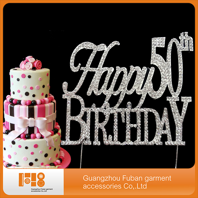 10 Pieces Lot Happy 50th Birthday Crystal Cake Topper For Decoration