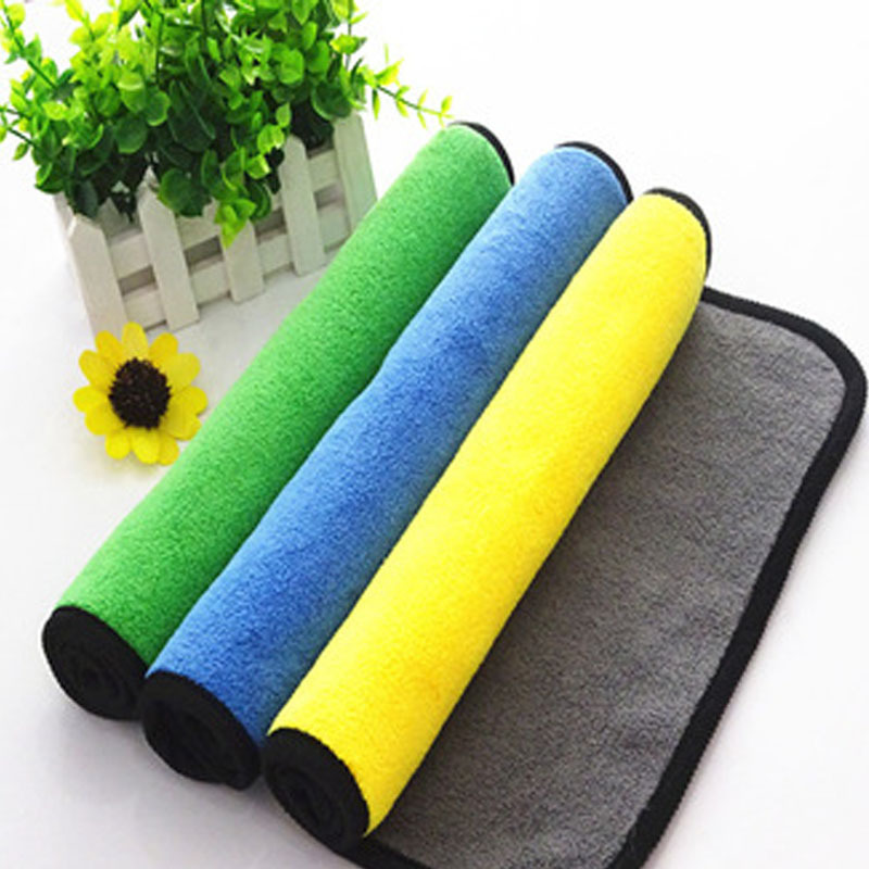 Image 2 - High density thickened strong absorbent coral velvet cleaning cloth 30*40cm Double sided two color car wash towel Cleaning towel-in Sponges, Cloths & Brushes from Automobiles & Motorcycles