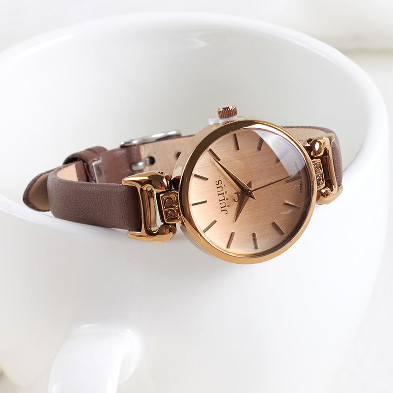 New Lady Women's Watch Japan Quartz Fine Fashion Hours Dress Bracelet Retro Cute Simple Leather Girl Birthday Gift Julius Box