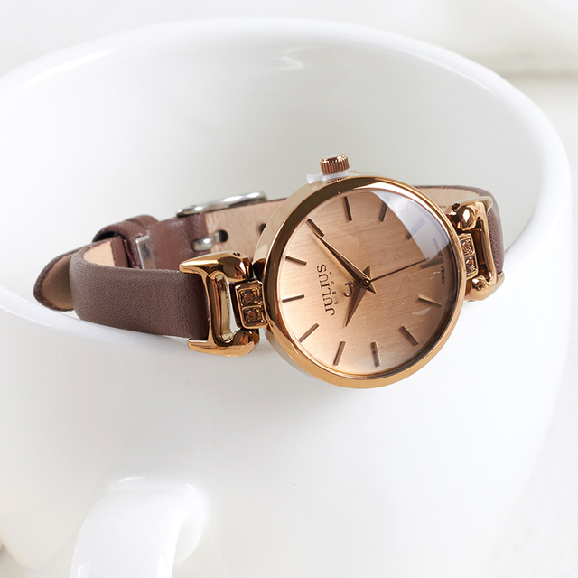 New Lady Women's Watch Japan Quartz Fine Fashion Hours Dress Bracelet Retro Cute Simple Leather Girl Birthday Gift Julius Box