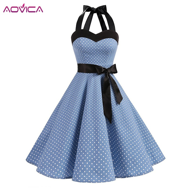 899170ecc3d Aovica Polka Dot Lace Up Dress Women Vintage Swing Halter Belt 50s  Rockabilly Prom Party Dresses