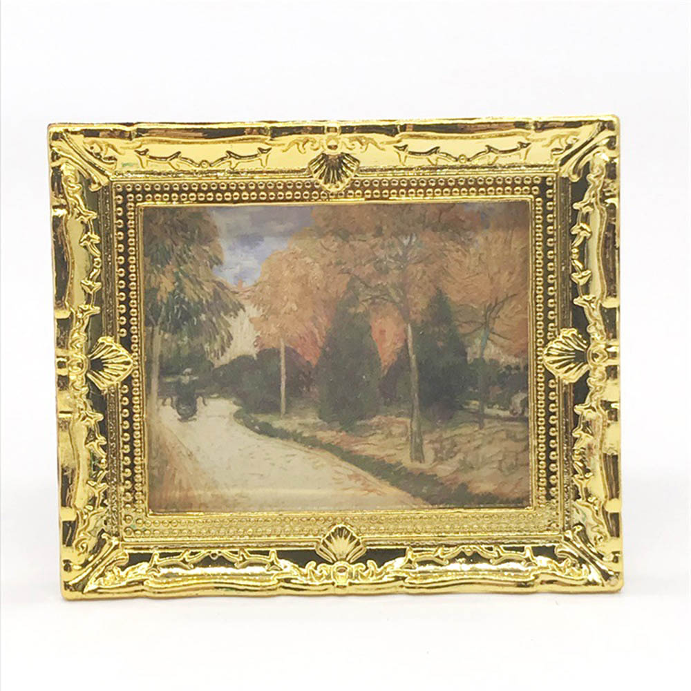 4Pcs 1//12 Dollhouse Miniature Accessories Gold Framed Pictures Art Paintings