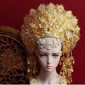 Image 1 - 8 デザイントップ品質タイロイヤルプリンセス髪ティアラ古代中国の衣装ヘアアクセサリーテレビ再生女王ヘア王冠の宝石