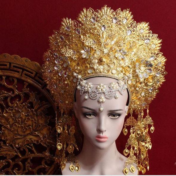 8 デザイントップ品質タイロイヤルプリンセス髪ティアラ古代中国の衣装ヘアアクセサリーテレビ再生女王ヘア王冠の宝石