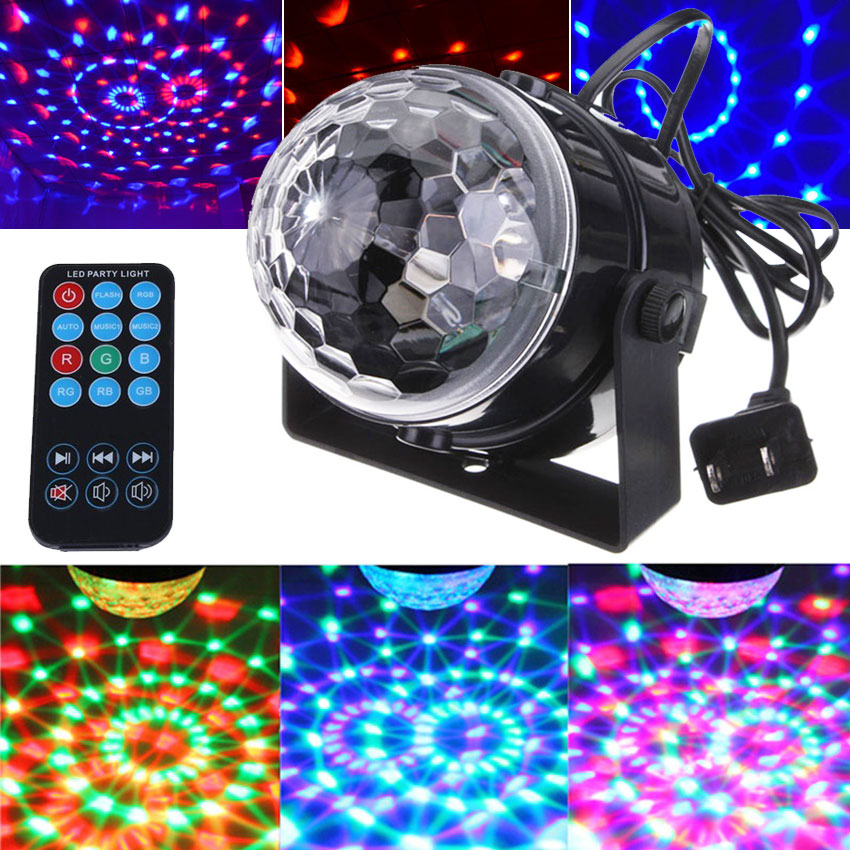 Big Promotion Remote Control Multicolor Mini Magic Crystal Stage Effect Light Ball Lamp for Party Disco DJ Bar Show AC 100V 220V mini rgb led party disco club dj light crystal magic ball effect stage lighting